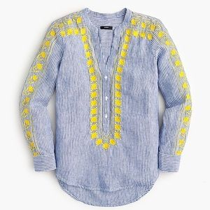 J. Crew Linen Blue/White Embroidered Tunic